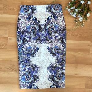 ASOS purple koi fish pattern pencil skirt